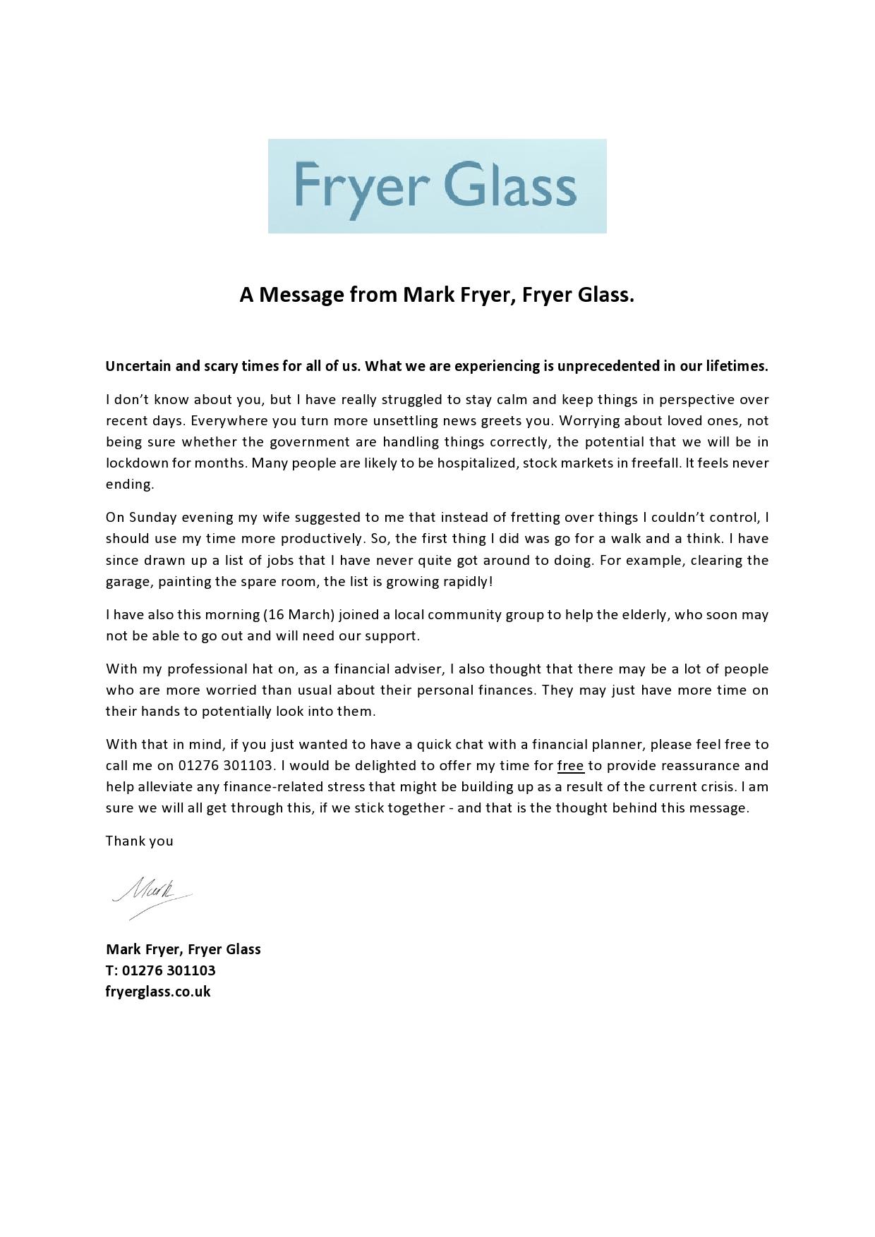 Coronavirus and Fryer Glass Message
